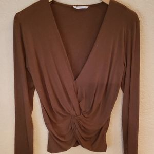 Brown long sleeve, v neck, front tie